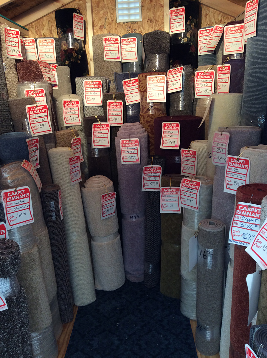 rolled up carpets