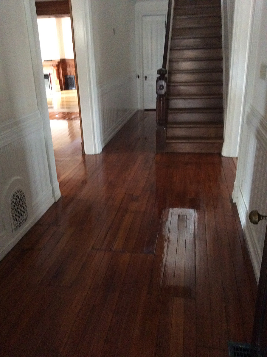 refinished wood floor & stairs
