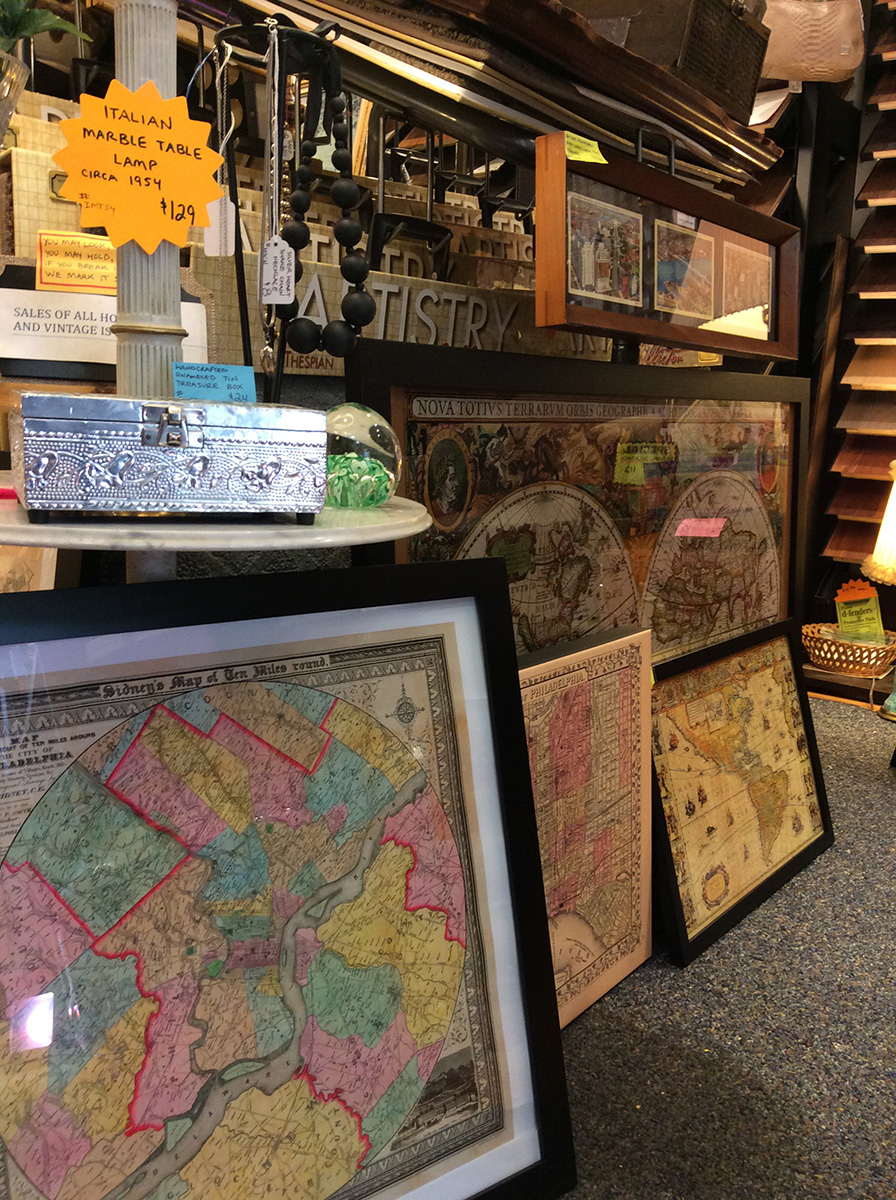 showroom with old world maps